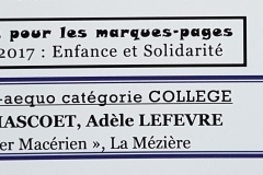 Marque Page 2017 - 1er Prix Collège - Camille & Adèle - Verso