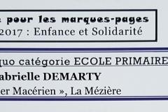 Marque Page 2017 - 1er Prix Primaire - Gabrielle - Verso